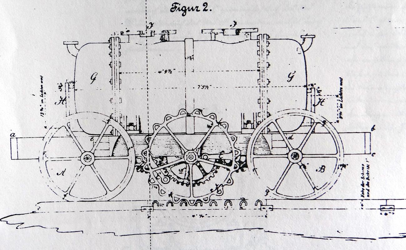 Originalzeichnung des Dampfwagens