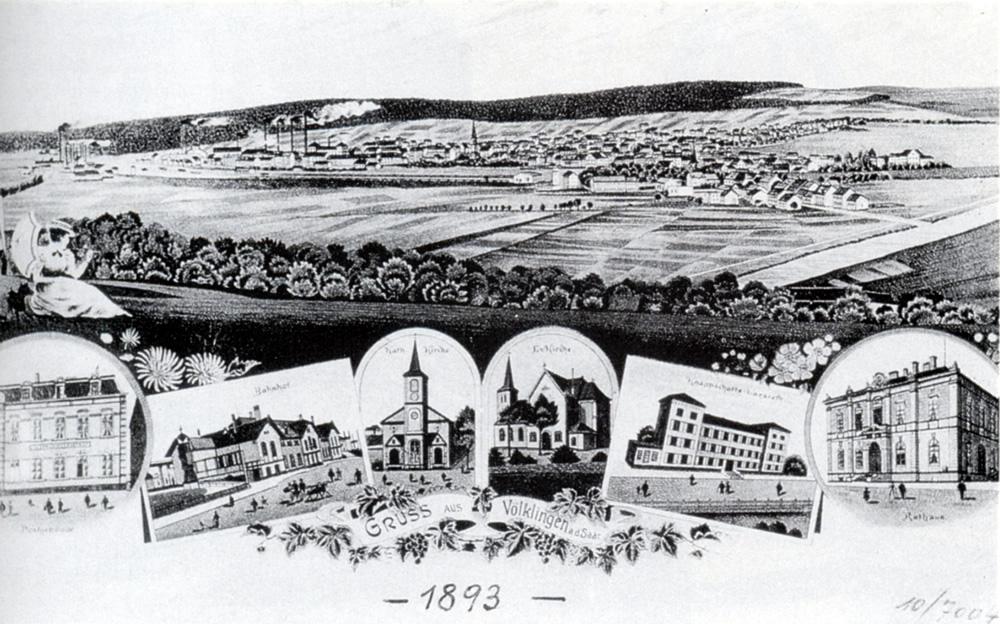 Postkarte Ansicht Völklingen 1893