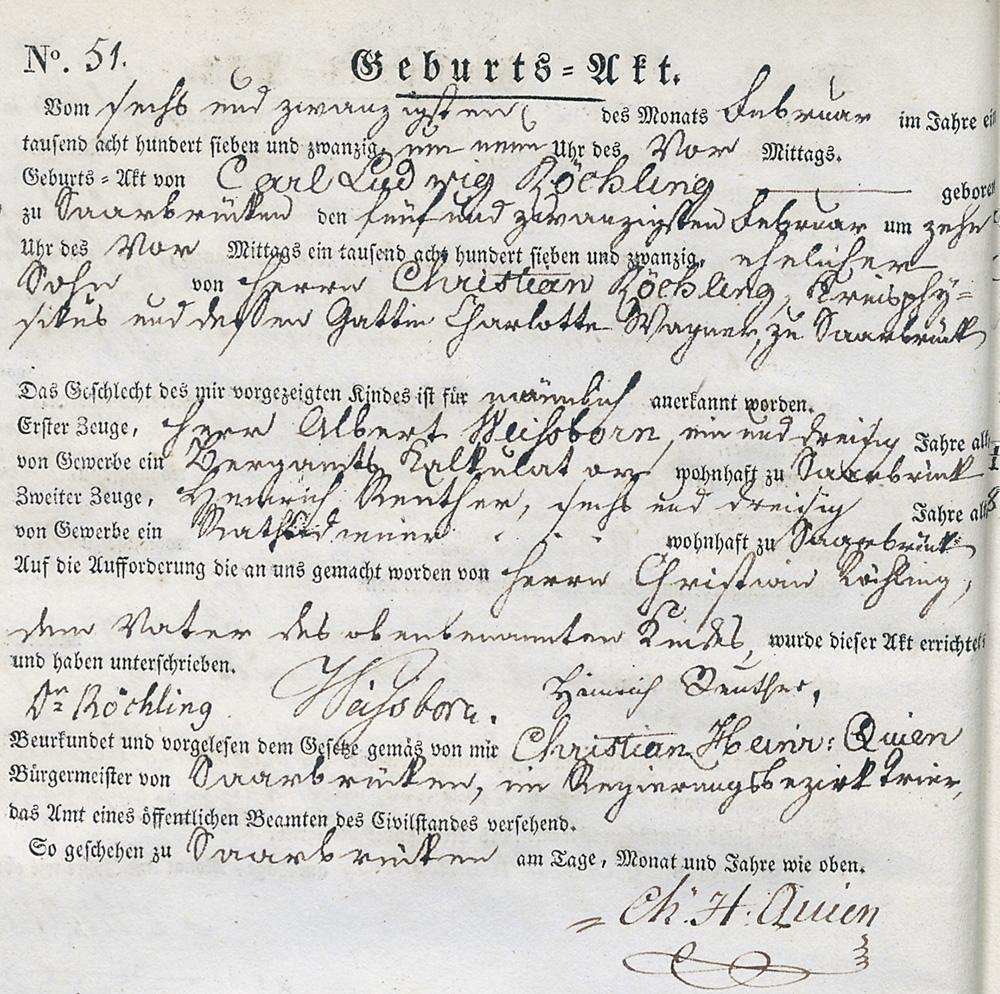 Geburtsurkunde Carl Ludwig Röchlings (Saarbrücker Stadtarchiv)
