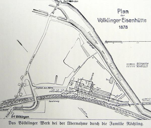 Plan der Völklinger Eisenhütte um 1878