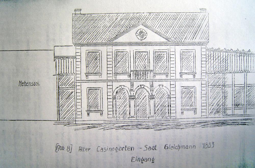 """Das Saarbrücker Theater im alten """"Casinogebäude"""", Bühne und Zuschauersaal befanden sich im ersten Stock"""