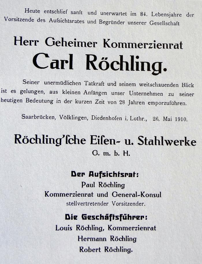 Traueranzeige für Carl Röchling, Saarbrücker Zeitung 1910