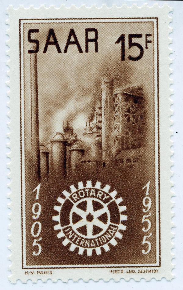 Zum 50-jährigen Bestehen von Rotary International erschien an der Saar eine Sondermarke aus der Feder von Fritz Ludwig Schmidt.