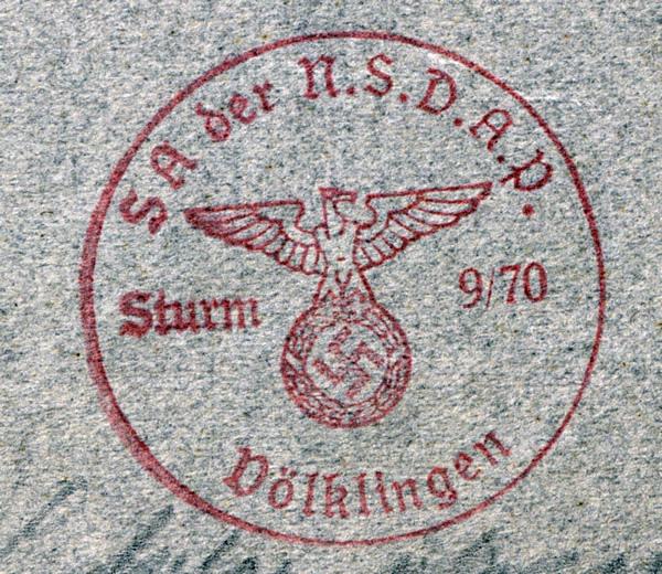 Stempel des Völklinger SA-Sturms 9/70.