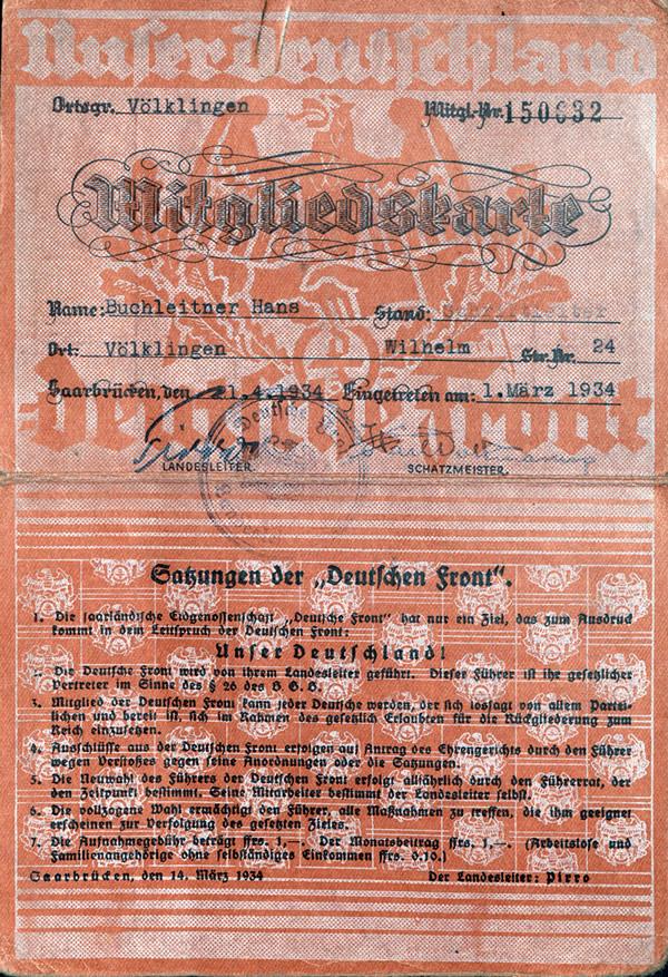 DF-Mitgliedsausweis des Hans Buchleitner.