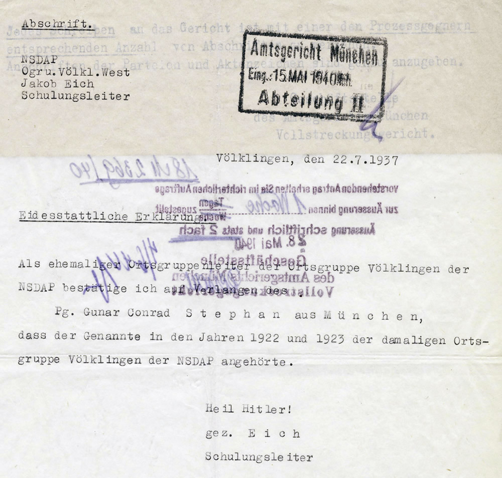 Der Ortsgruppenschulungsleiter der NSDAP-Ortsgruppe Völklingen-West, Jakob Eich, bestätigt Gunar Conrad Stephan 1922 und 1923 der damaligen NSDAP-Ortsgruppe Völklingen angehört zu haben (Abschrift).