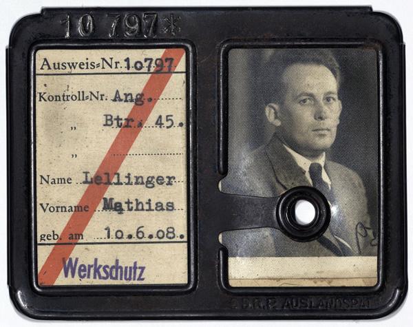 Werksausweis der Röchling'schen Eisen- und Stahlwerke des Mathias Lellinger.