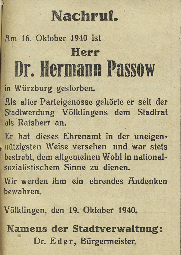 Nachruf der Stadtverwaltung Völklingen auf Dr. Hermann Passow.