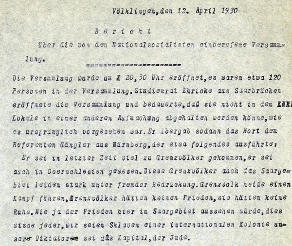Polizeibericht über die erste dokumentierte NSDAP-Veranstaltung in Völklingen (Ausschnitt).