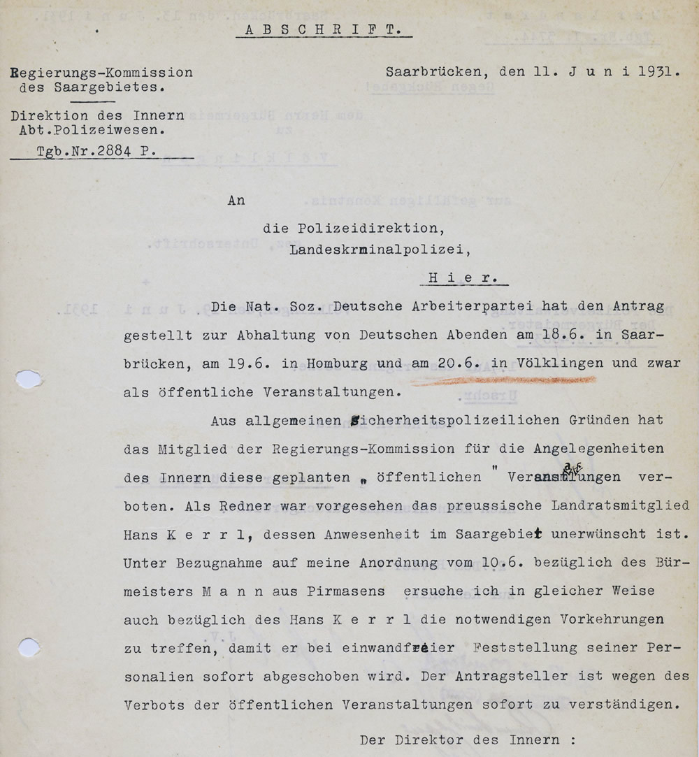 Die Reko verweigerte Hans Kerrl im Sommer 1931 die Einreise in das Saargebiet (Abschrift).