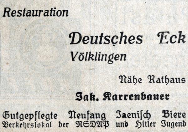 Werbeanzeige des Gasthauses Deutsches Eck in Völklingen.