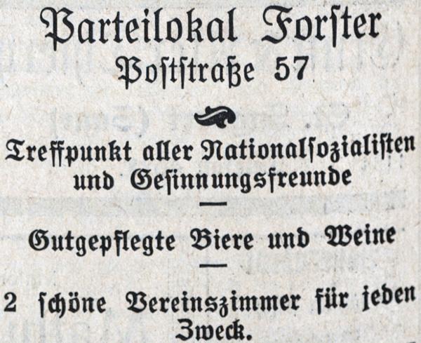 Werbung des Gasthauses Forster in Völklingen.