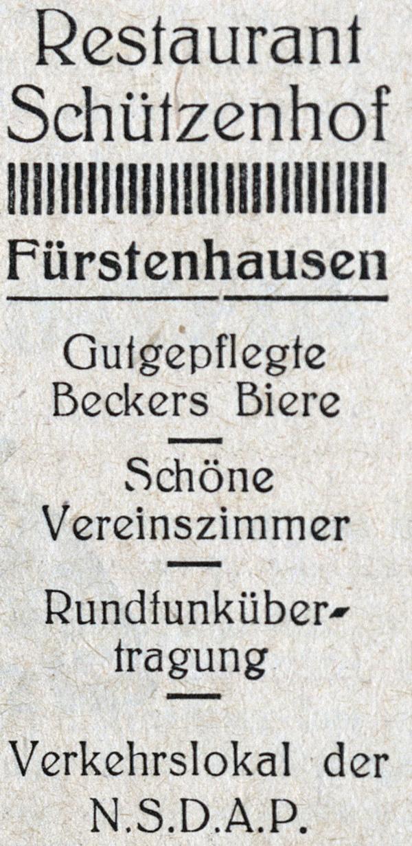 Anzeige des Restaurants Schützenhof in Fürstenhausen.
