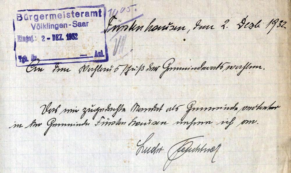 Der als Nachrücker in den Gemeinderat Fürstenhausen bestimmte Ludwig Feuchtner nimmt sein Mandat an.