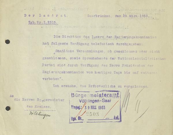 Verbot von Versammlungen der NSDAP vom 29. März 1933.