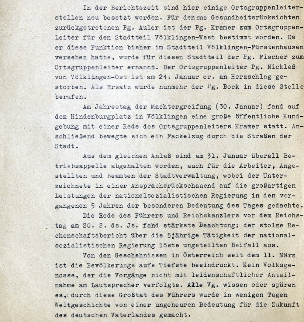 Berichterstattung des Bürgermeisters an den Saarbrücker Landrat vom 8. April 1938 (Ausschnitt).
