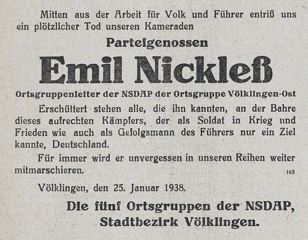 Sterbeanzeige für Emil Nickleß im Völklinger Volksfreund vom 26. Januar 1938.