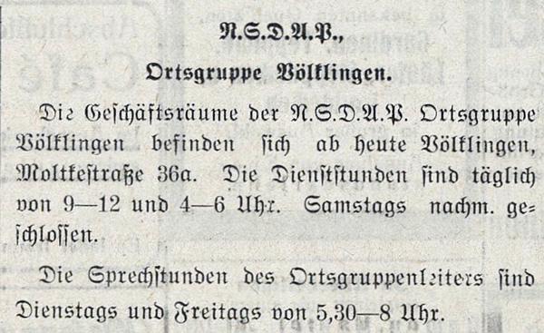 Anzeige über die Geschäftsräume der NSDAP-Völklingen im Völklinger Volksfreund vom 26. Oktober 1935.
