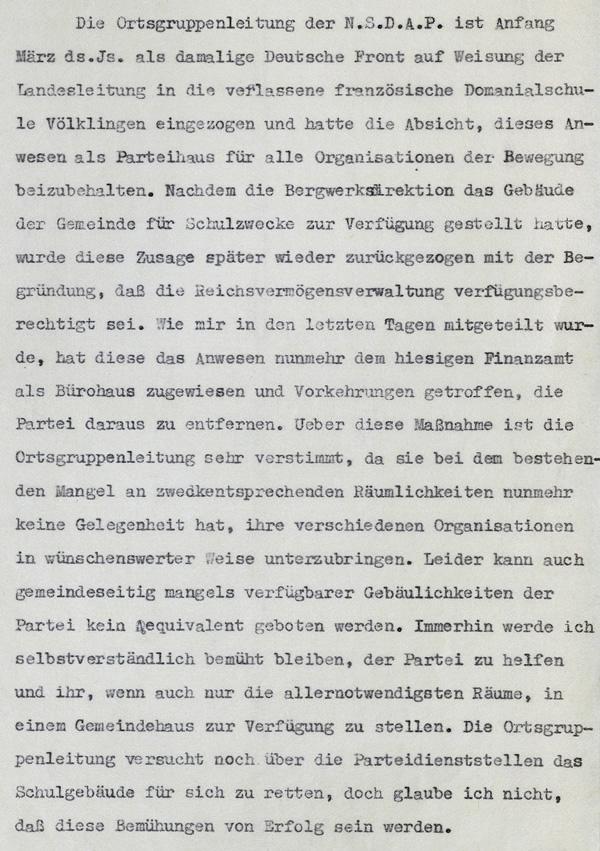 Berichterstattung des Bürgermeisters an den Saarbrücker Landrat vom 11. Mai 1935 (Ausschnitt).