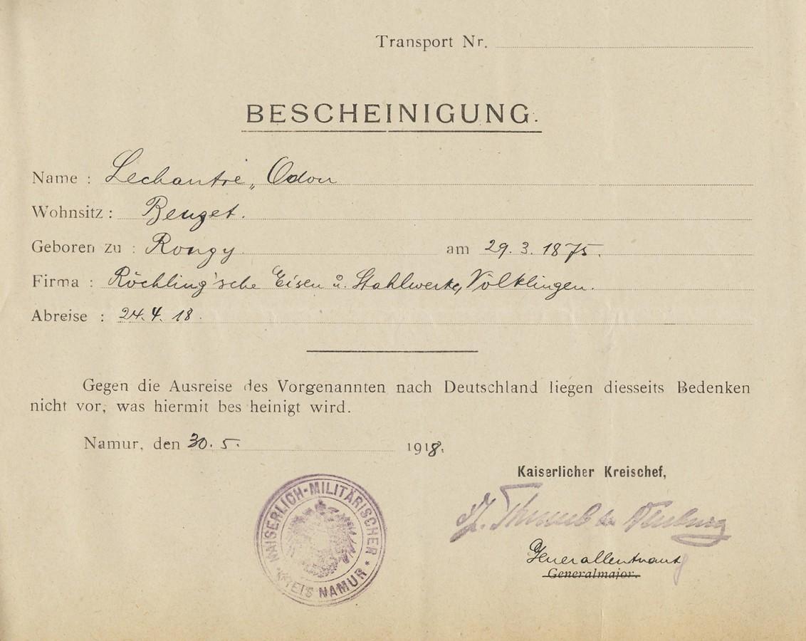 Unbedenklichkeitserklärung für Odon Lechantre wegen der Einreise in das Deutsche Reich.
