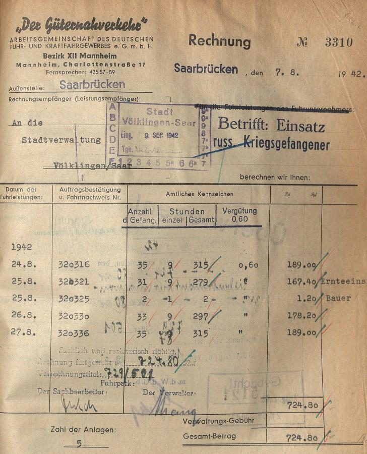 Abrechnung des Einsatzes russischer Kriegsgefangener durch die Arbeitsgemeinschaft des Deutschen Fuhr- und Kraftfahrtgewerbes Bezirk XII Mannheim, Außenstelle Saarbrücken.