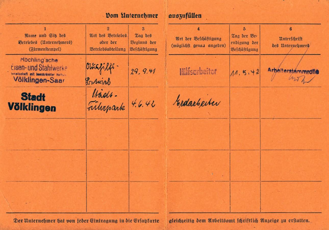 Auszug aus der Ersatzkarte für das Arbeitsbuch des Bojram Muslijevic.