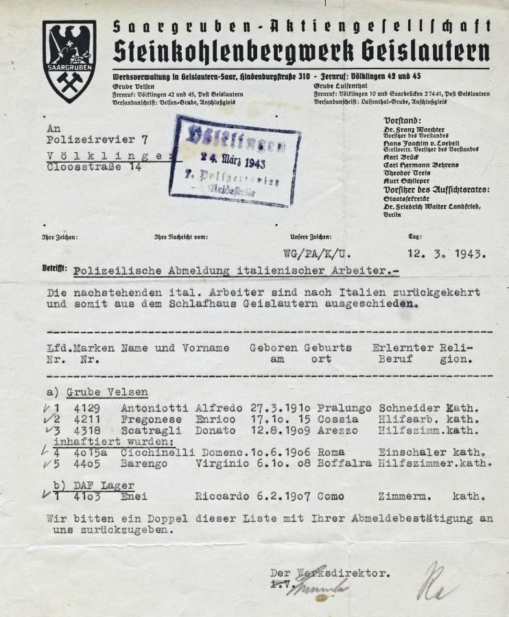 Anmeldung italienischer Arbeiter durch das Steinkohlenbergwerk Geislautern.