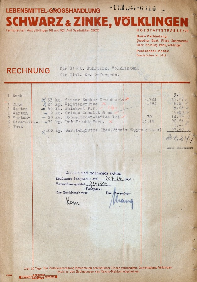 Rechnung der Fa. Schwarz & Zinke über die Warenlieferung zur Versorgung der IMI im städtischen Kriegsgefangenenlager.