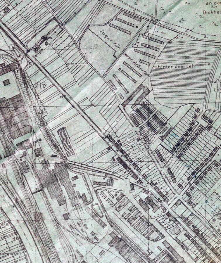 Lage des Zwangsarbeiterlagers Am Schulzenfeld an der verlängerten Hofstattstraße.
