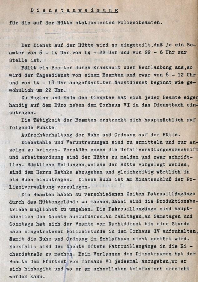 Dienstanweisung für die auf der Hütte stationierten kommunalen Polizeibeamten, 1931.