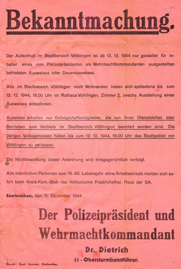 Bekanntmachung über den Aufenthalt im Völklinger Stadtgebiet ab dem 12. Dezember 1944.