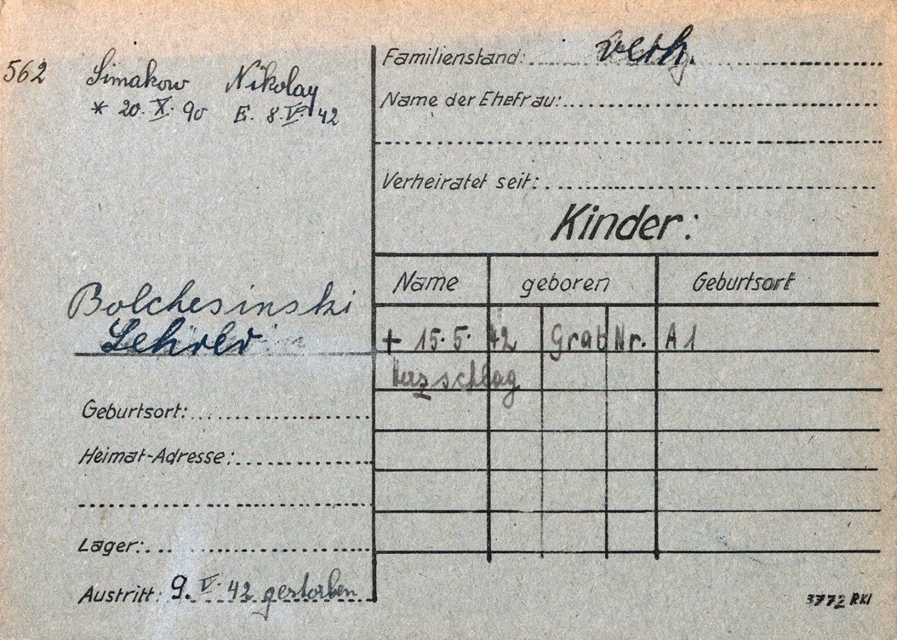 Karteikarte des am 9. Mai 1942 verstorbenen Nikolai Simakow. Er war der erste in Völklingen verstorbene Ostarbeiter.