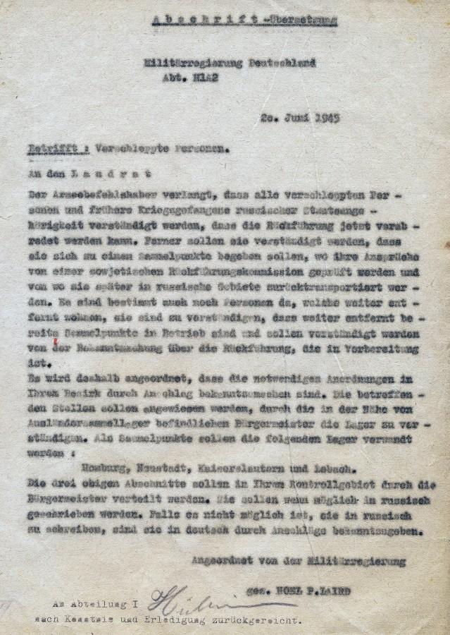 Anordnung der Militärverwaltung wegen Rückführung sowjetischer Staatsangehöriger.